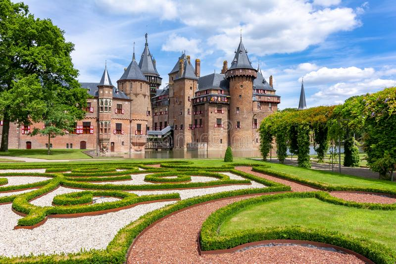 Castello di De Haar vicino ad Utrecht, Paesi Bassi immagine stock libera da diritti