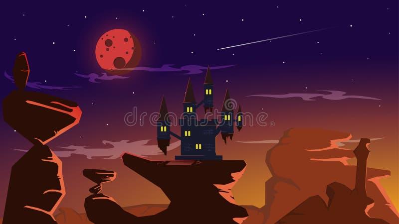 Castello di eclissi della luna piena del sangue su grande roccia illustrazione vettoriale