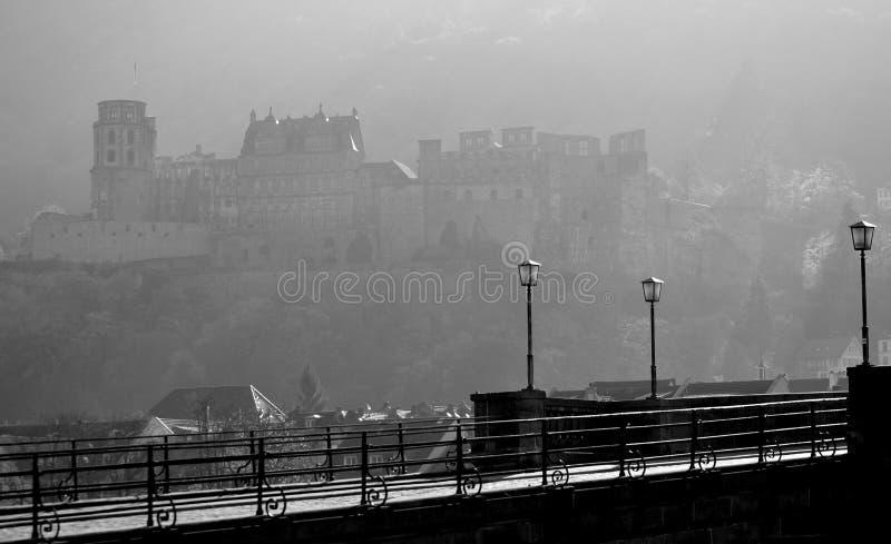 Castello di Heidelberg alle luci di mattina fotografia stock libera da diritti
