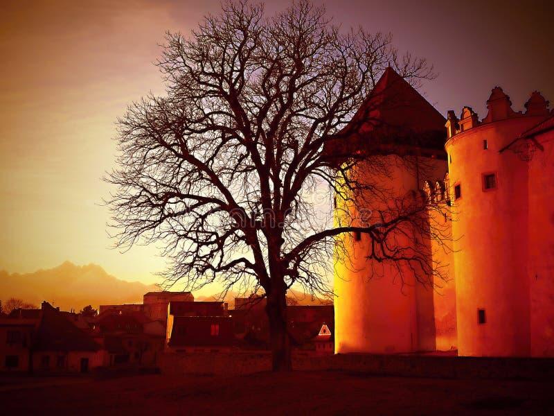 Castello di Kezmarok - tramonto, Slovacchia fotografia stock