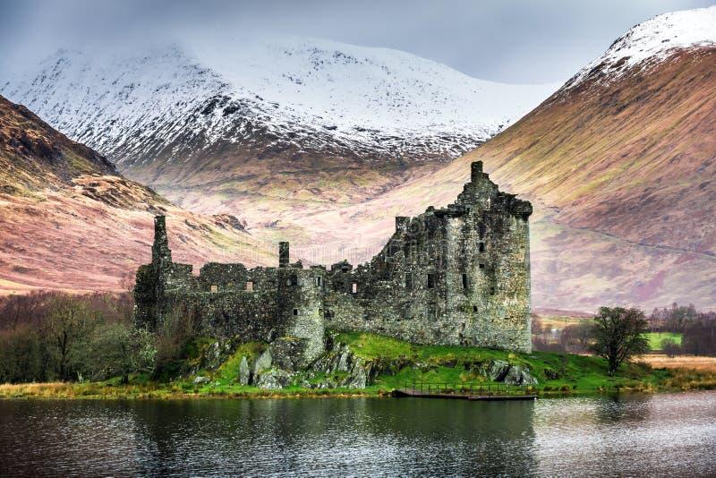 Castello di Kilchurn nell'inverno fotografia stock