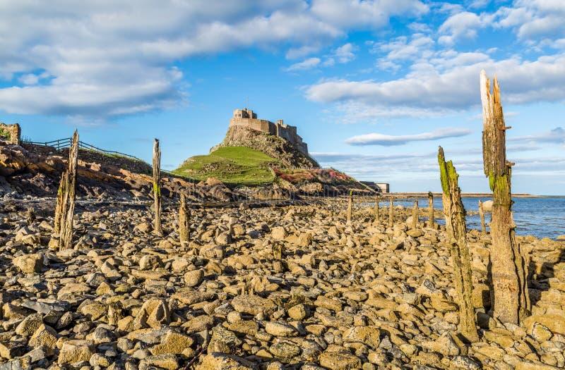 Castello di Lindisfarne, Northumberland, Inghilterra fotografie stock libere da diritti