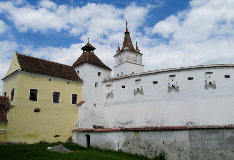 Castello di Medival in Romania, parete fortificated della chiesa fotografia stock libera da diritti