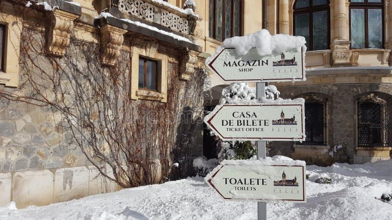 Castello di Peles - inverno - segni fotografia stock