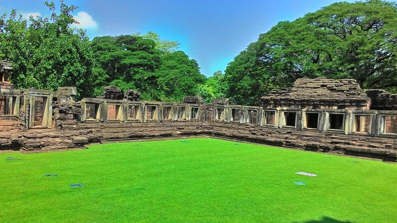 Castello di pimai del castello di Pimai nell'albero di verde della Tailandia fotografia stock
