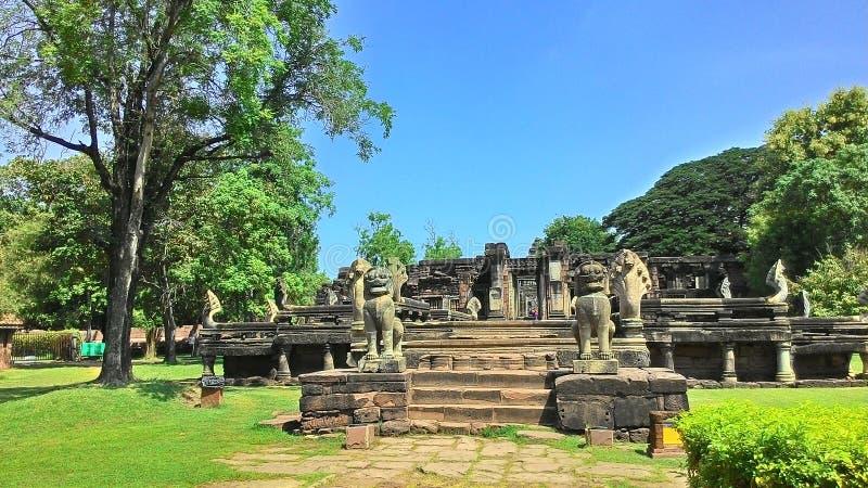 Castello di pimai del castello di Pimai nell'albero di verde della Tailandia fotografia stock libera da diritti