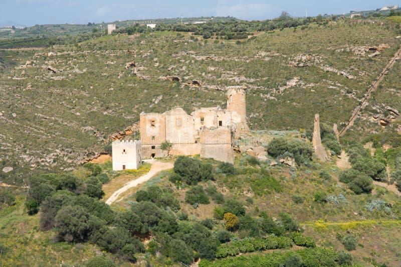 Castello di Poggiodiana, Sicily, Italy. Ruins Castello di Poggiodiana in the valley river Verdura, near town Ribera, Sicily, Italy stock photography