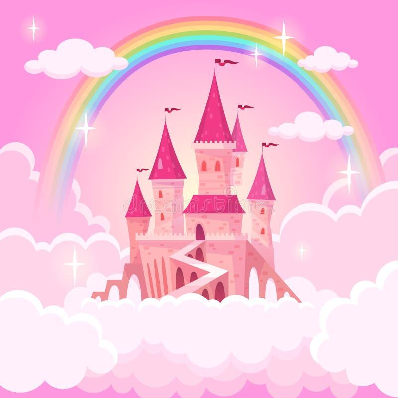 Castello di principessa Palazzo di volo di fantasia in nuvole magiche rosa Palazzo medievale reale di cielo di favola Vettore del illustrazione di stock