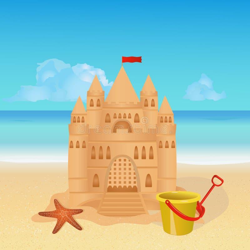 Castello di sabbia sulla spiaggia tropicale royalty illustrazione gratis