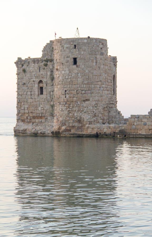 Castello di Saida nel Libano del sud immagini stock libere da diritti