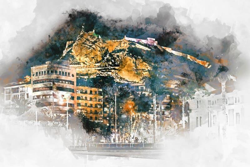 Castello di Santa Barbara Alicante, Spagna royalty illustrazione gratis