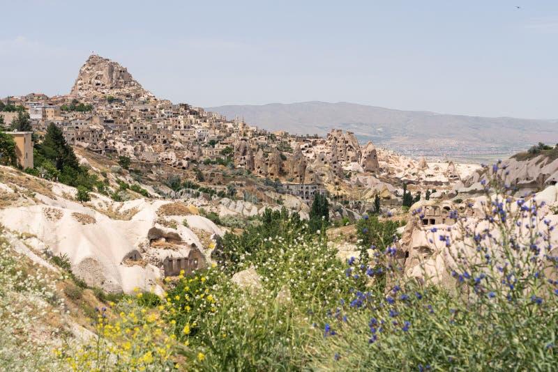 Castello di Uchisar, più alto punto di Cappadocia nella stagione estiva, l'Anatolia centrale fotografie stock