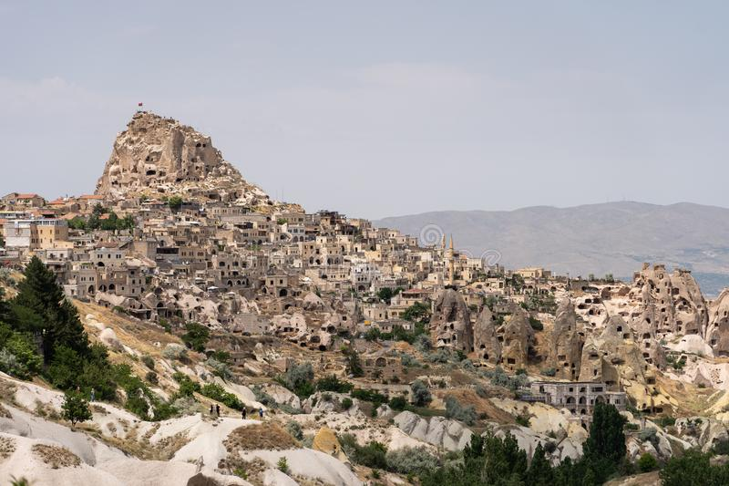 Castello di Uchisar, più alto punto di Cappadocia nella stagione estiva, l'Anatolia centrale immagine stock libera da diritti