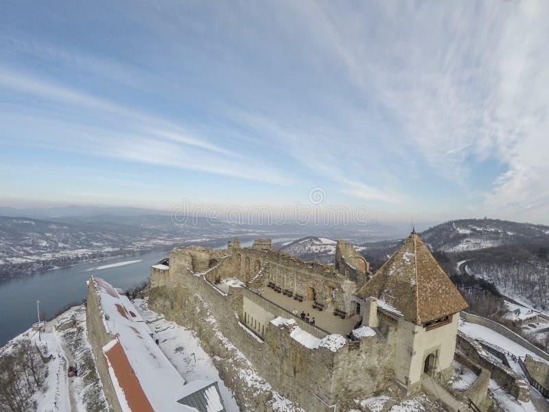 Castello di Visegrad da sopra immagine stock libera da diritti