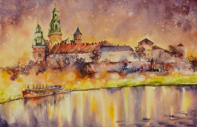 Castello di Wawel, Cracovia, Polonia illustrazione di stock