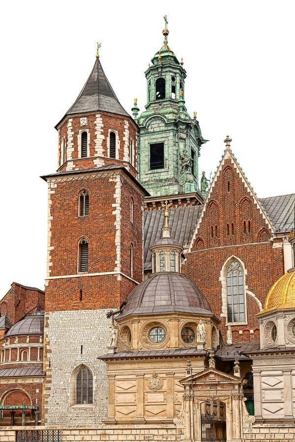Castello di Wawel, isolato su fondo bianco immagini stock libere da diritti