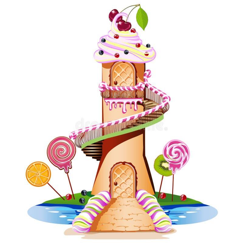 Castello dolce con un tetto color crema e un pezzo di caramella illustrazione vettoriale