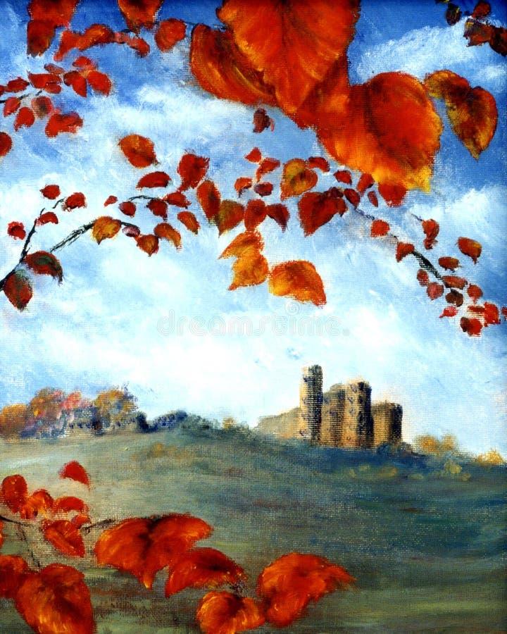 Castello e fogli illustrazione vettoriale