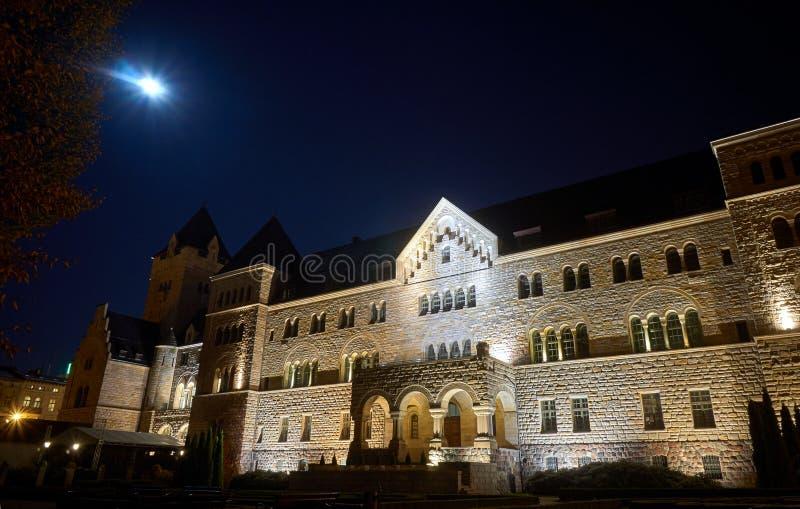 Castello e luna degli imperatori nella notte immagini stock
