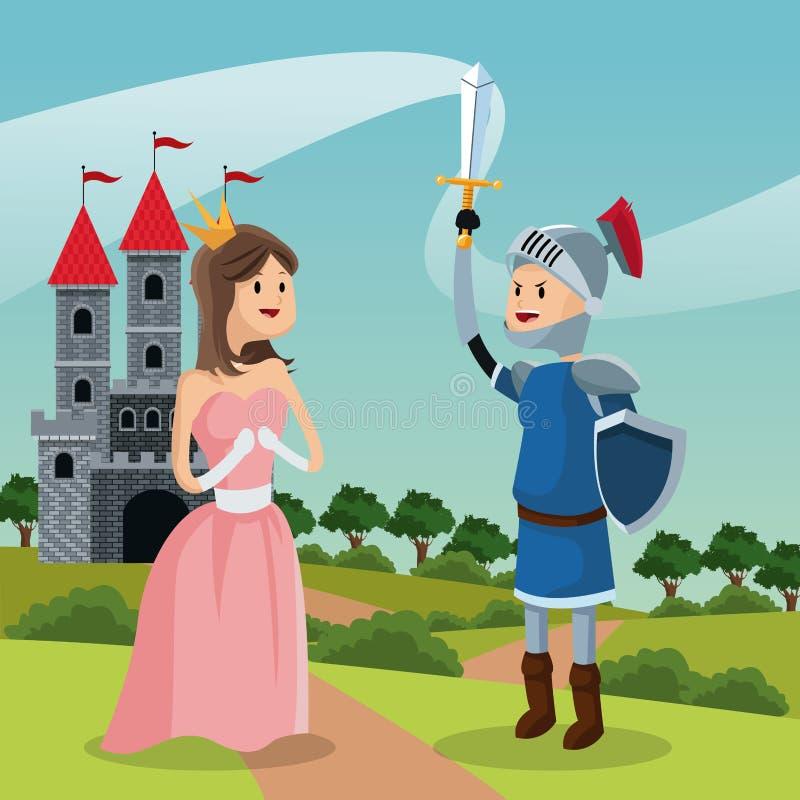 Castello e paesaggio del cavaliere di principessa illustrazione di stock