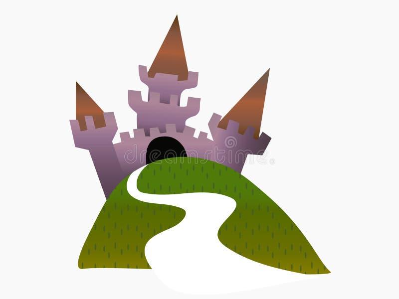 Castello e percorso misteriosi insoliti che conduce a  illustrazione vettoriale