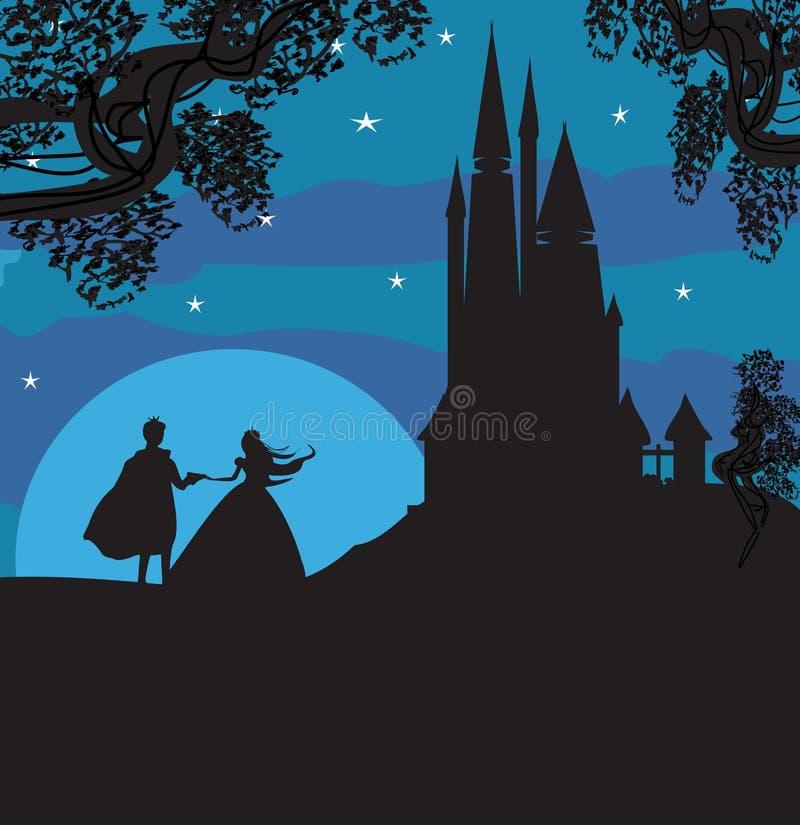 Castello e principessa con principe illustrazione vettoriale