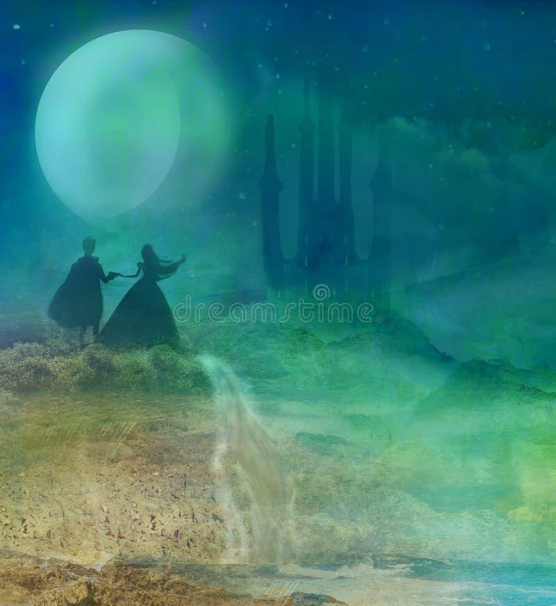Castello e principessa magici con principe illustrazione vettoriale