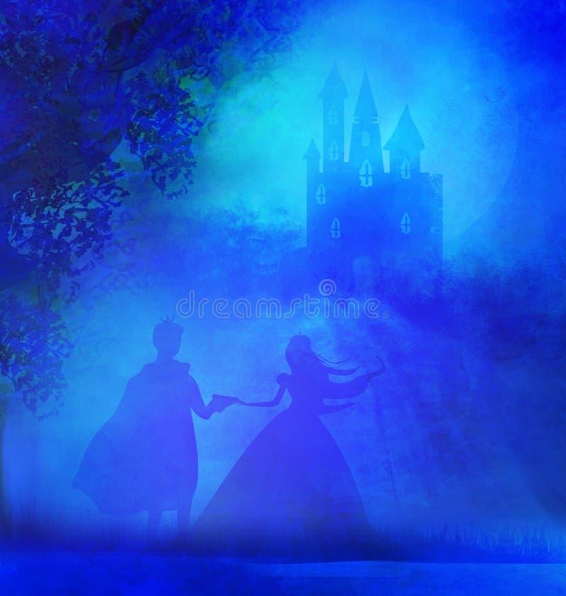 Castello e principessa magici con principe royalty illustrazione gratis