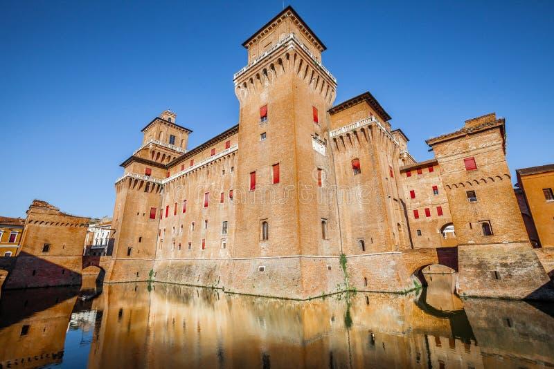 Castello Estense在费拉拉在意大利 库存图片