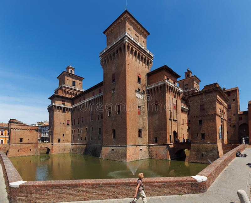 Castello Estense在费拉拉,意大利 库存图片