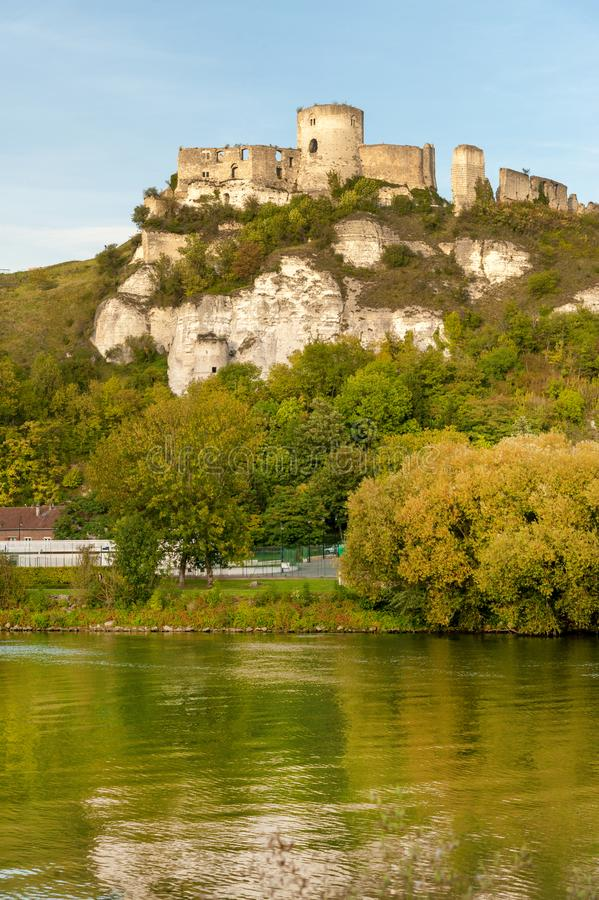 Castello Gaillard sopra la Senna immagini stock