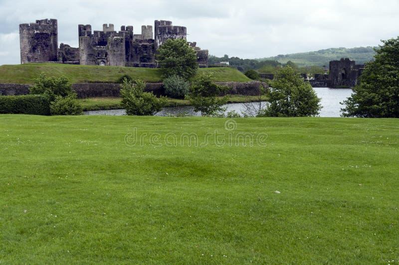 Castello Galles del sud di Caerphilly fotografie stock libere da diritti