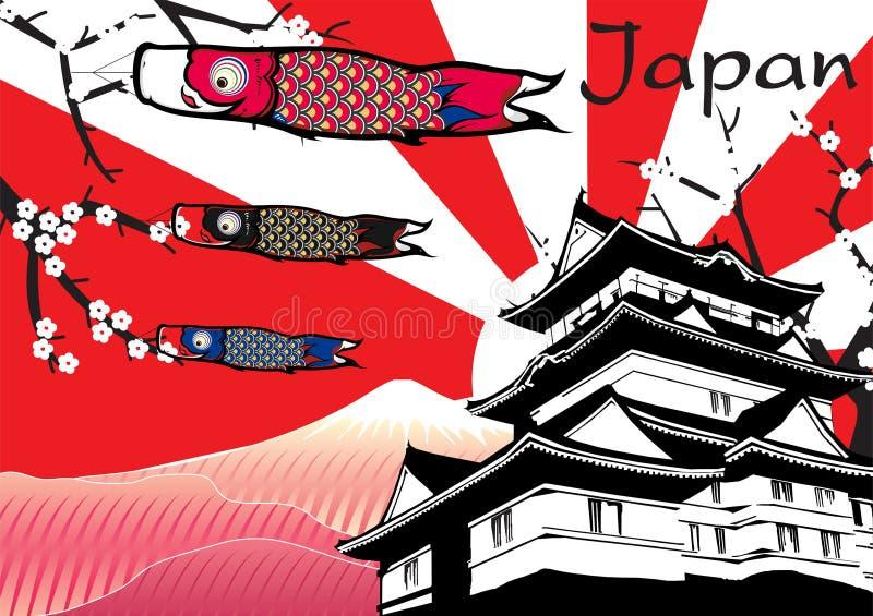 Castello giapponese con la bandiera del pesce e il mountainc di Fuji illustrazione vettoriale