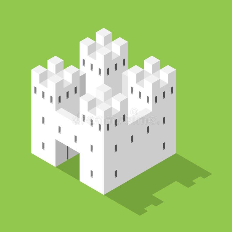 Castello isometrico bianco semplice illustrazione vettoriale
