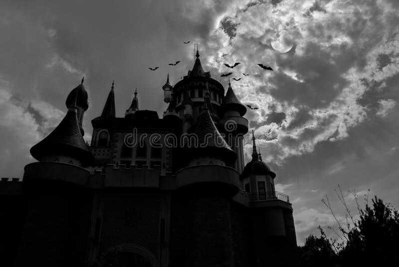 Castello leggiadramente alla notte con i pipistrelli intorno  fotografie stock