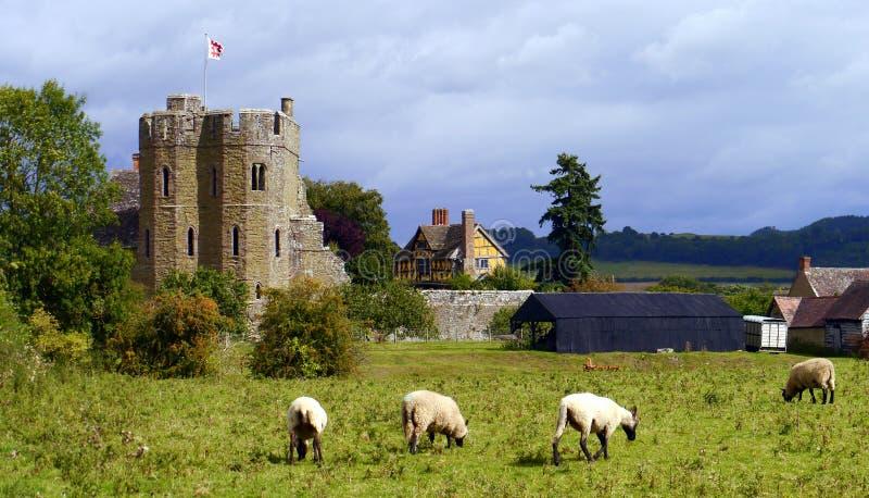 Castello Ludlow di Stokesay dal sud fotografia stock