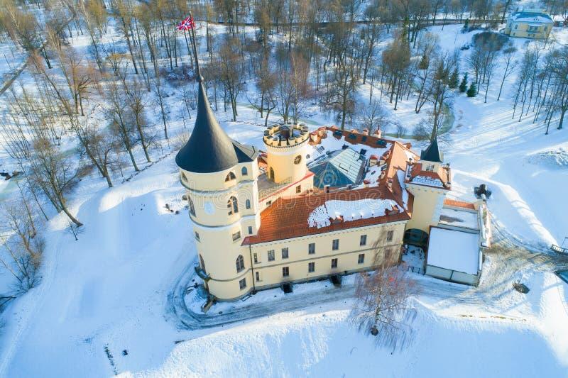 Castello Mariental, rilevamento aereo di Bip di giorno di febbraio Pavlovsk fotografia stock