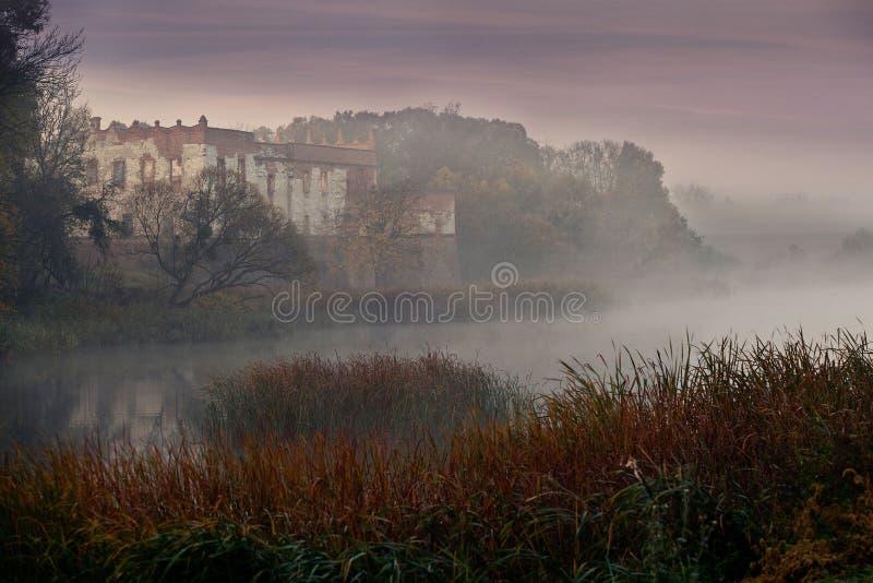 Castello medievale circondato da un fossato fotografia stock