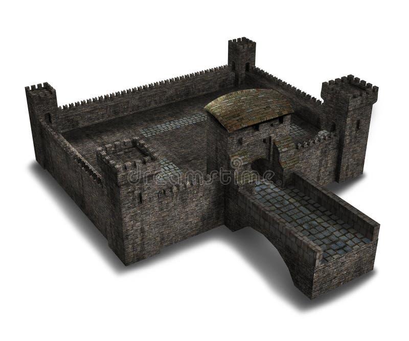 Castello medievale del villaggio illustrazione di stock