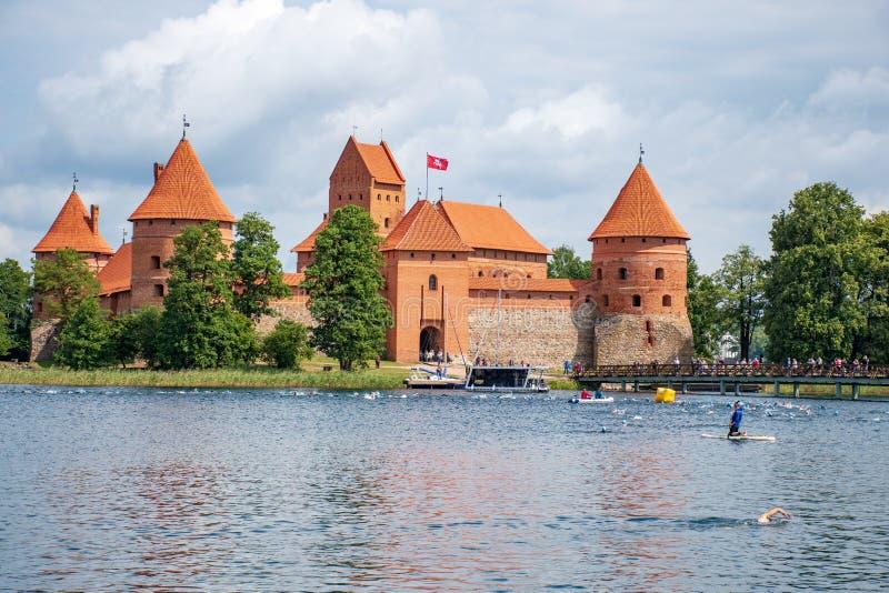 Castello medievale di Trakai, Vilnius, Lituania immagine stock libera da diritti