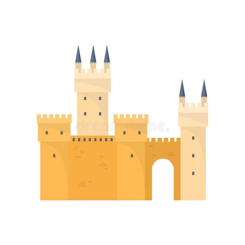 Castello medievale soleggiato giallo per re anziano del cavaliere royalty illustrazione gratis