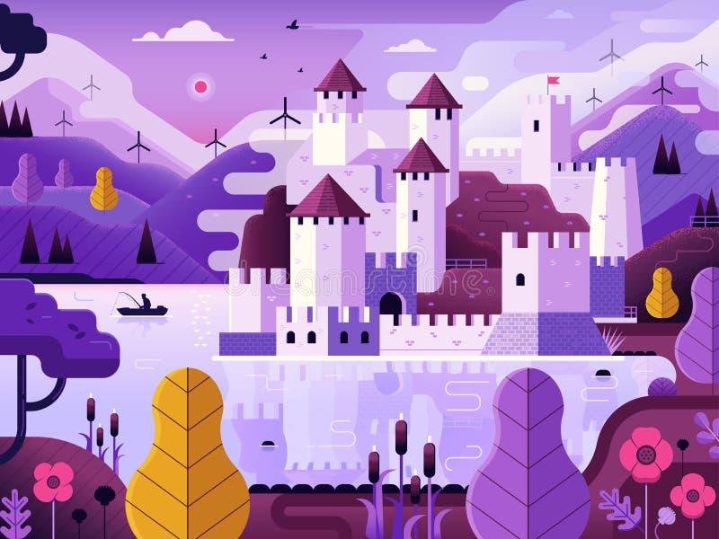 Castello medievale sul paesaggio di fantasia del lago illustrazione di stock