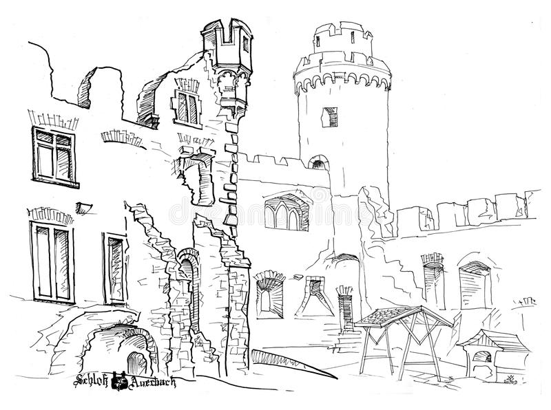 Castello medioevale illustrazione di stock