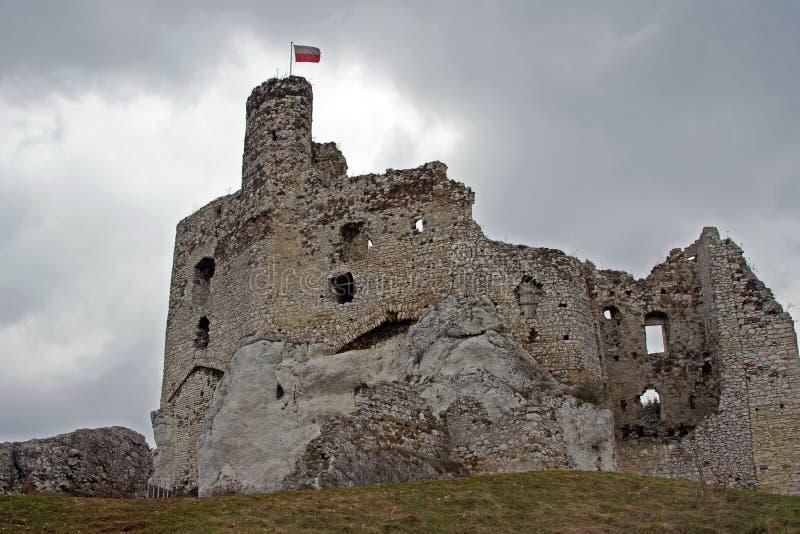 Castello medioevale rovinato con la torretta in Mirow immagini stock