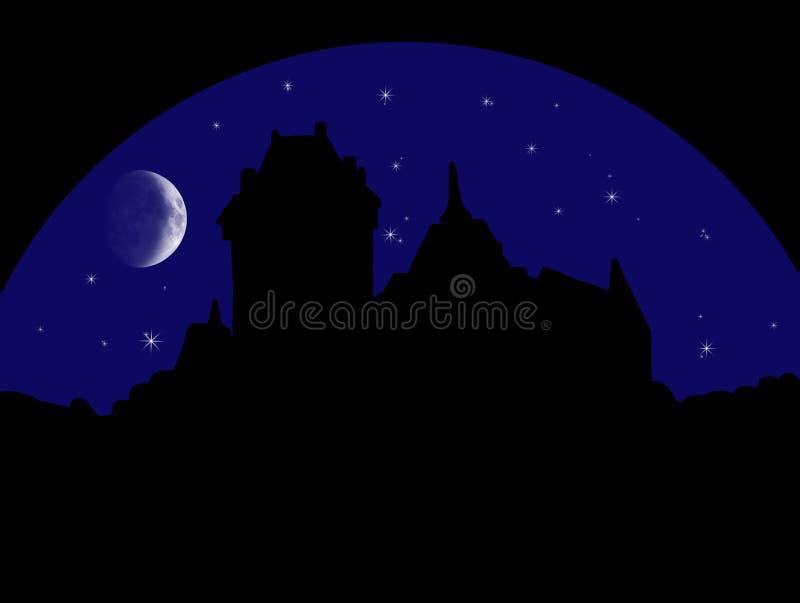 Castello misterioso alla notte royalty illustrazione gratis