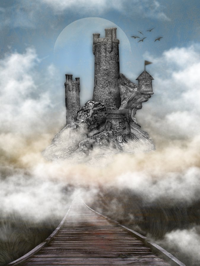 Castello nelle nubi immagini stock