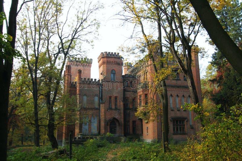 Castello neogotico ucraino dei magnati polacchi nel villaggio di Leskovo fotografia stock libera da diritti