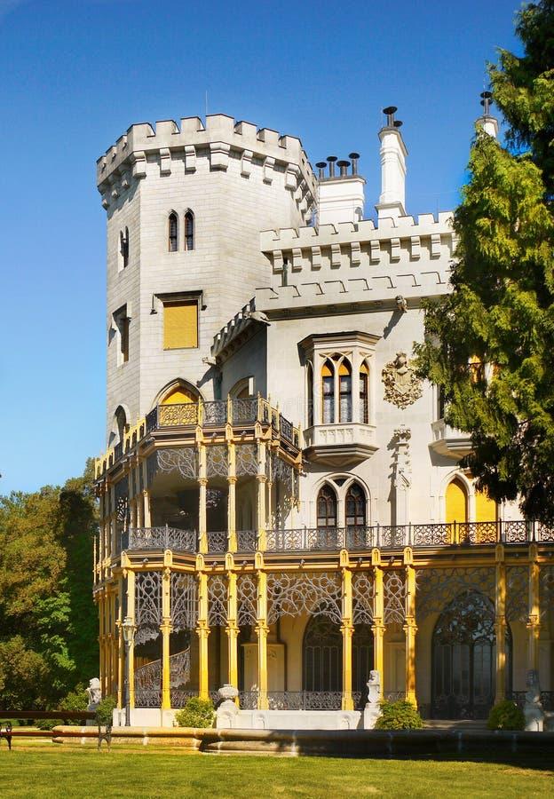 Castello romantico, Hluboka, repubblica Ceca immagini stock