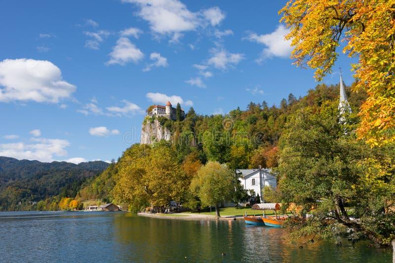 Castello sanguinato e sanguinato del lago in autunno fotografie stock libere da diritti