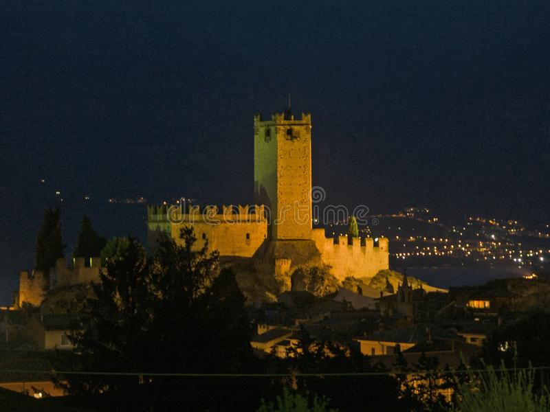 Castello Scaligero in Malcesine at night stock photography